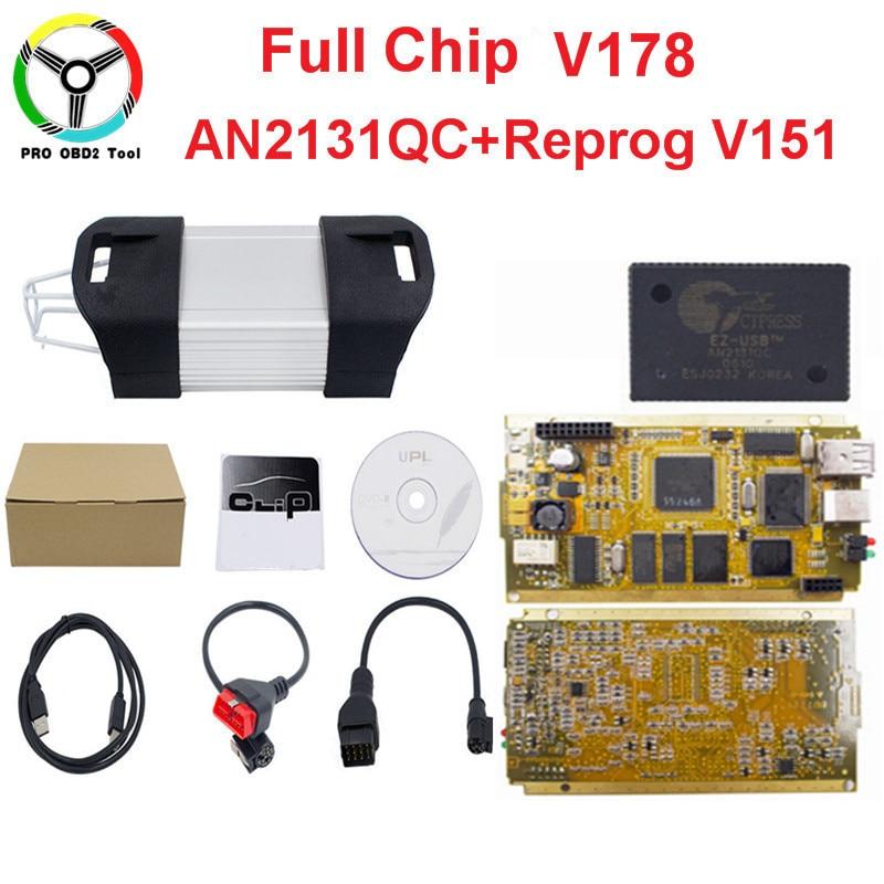2018 Recém V178 Pode Clipe Cheio de Chips CIPRESTE AN2131Q + Reprog V151 OBD2 Chip de Interface de Diagnóstico CAN Com Ouro Lado PCB