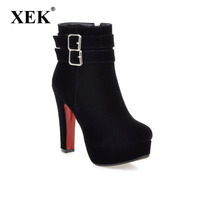 XEK 2018 Women S pring Boots High Heel Ankle Boots Zip Platform Shoes Pointed Toe Ladies Sexy Velvet Boots ZLL214