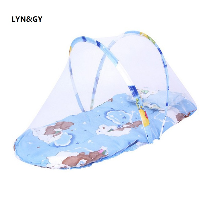 Blue Portable Soft Mat Baby Crib Bedding Mosquito Net Foldable Bed Sleep Travel Beds Cribs Pillow Set 0-2 Years mosquitera cama