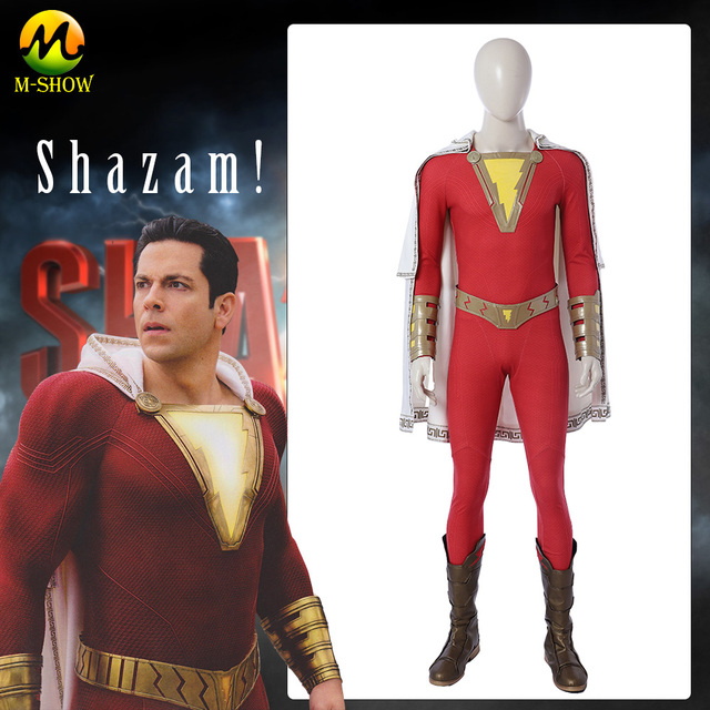 Shazam Billy Batson Cosplay Costume Jumpsuit Captain Marvel Movie Suit Superhero Halloween With Boots Adults Men