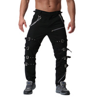 Autumn winter men fashion bandage hip hop punk cargo pants nightclub stage costume men casual hiphop streetwear joggers big size