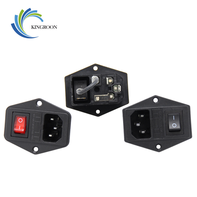 цена на 5pcs/lot 10A 250V Power Switch 3 in 1 AC Part Red Black 3D Printers Parts Fuse Supply Socket Outlet Triple with Cable Copper