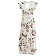 KLV Women Elegant Backless Sleeveless Floral Maxi Dress High Low Sexy Party