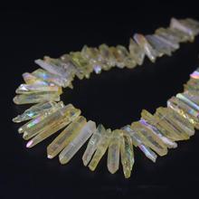 15.5strand Lemon Yellow Raw Crystal Top Drilled Point Beads,Titanium Quartz Stick Graduated Pendants Jewelry Making