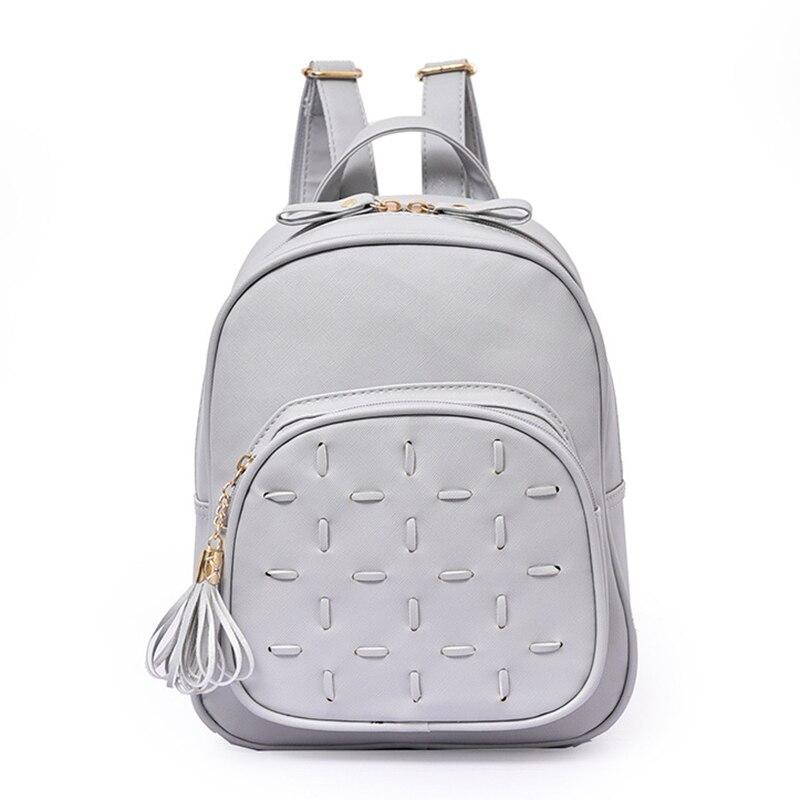 women leather backpack for teenagers girls fashion student bags flower tassel plaid female minimalist cute backpacks