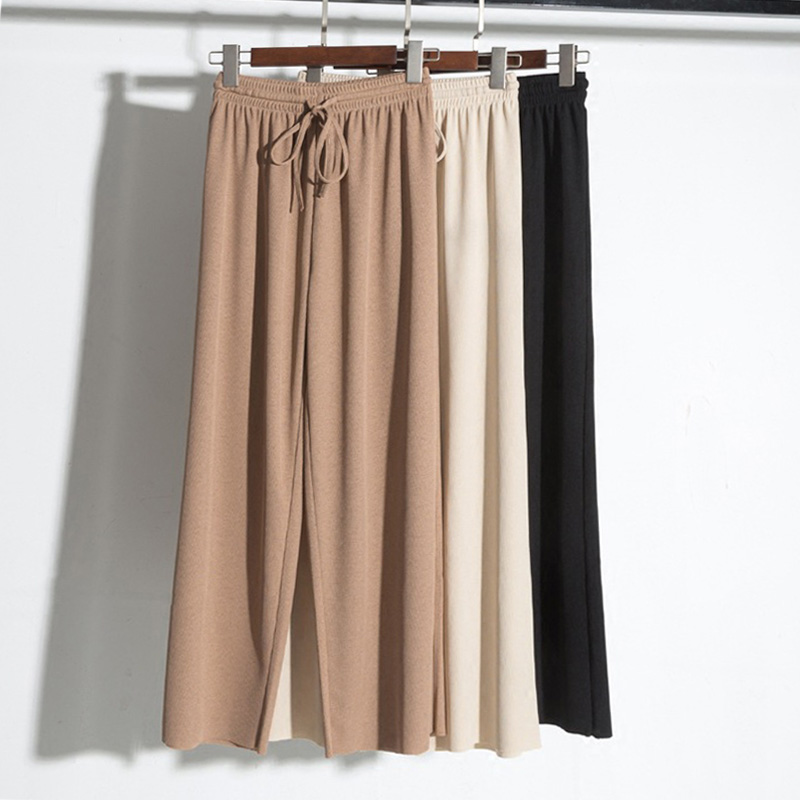 Spring Autumn Ice Silk Wide Leg Pants Female Korean Loose Thin knitted  Ankle Trousers & Women Pants Gray Khaki Beige