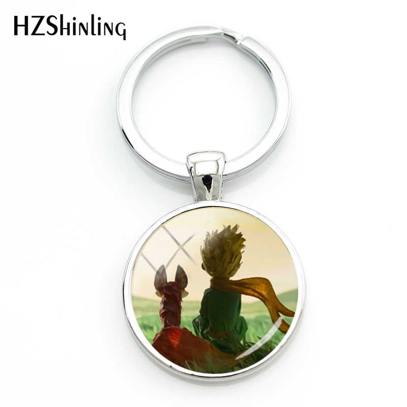 2018 New Arrival The Little Princes Fox Keyring Fairy Tale Keychain Glass Dome Key Chains Silver Round Handmade Bag Holder