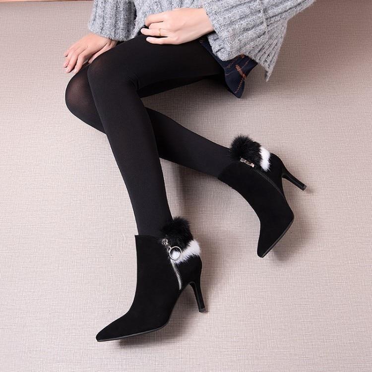 Mujeres Nieve Dentro Nueva Del Las Invierno Gamuza Talón Llegada gris Sexy Corto Botas Zapatos De Finos Tacones {zorssar} Negro Alto Cuero Tobillo Peluche 4Sw7dttq