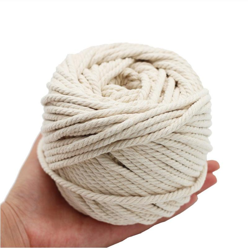 10/8/6/5/4mm Macrame Rope Twisted String Cotton Cord Handmade Natural Beige Rope DIY Accessories For Hand DIY 50/65/100/150/200M