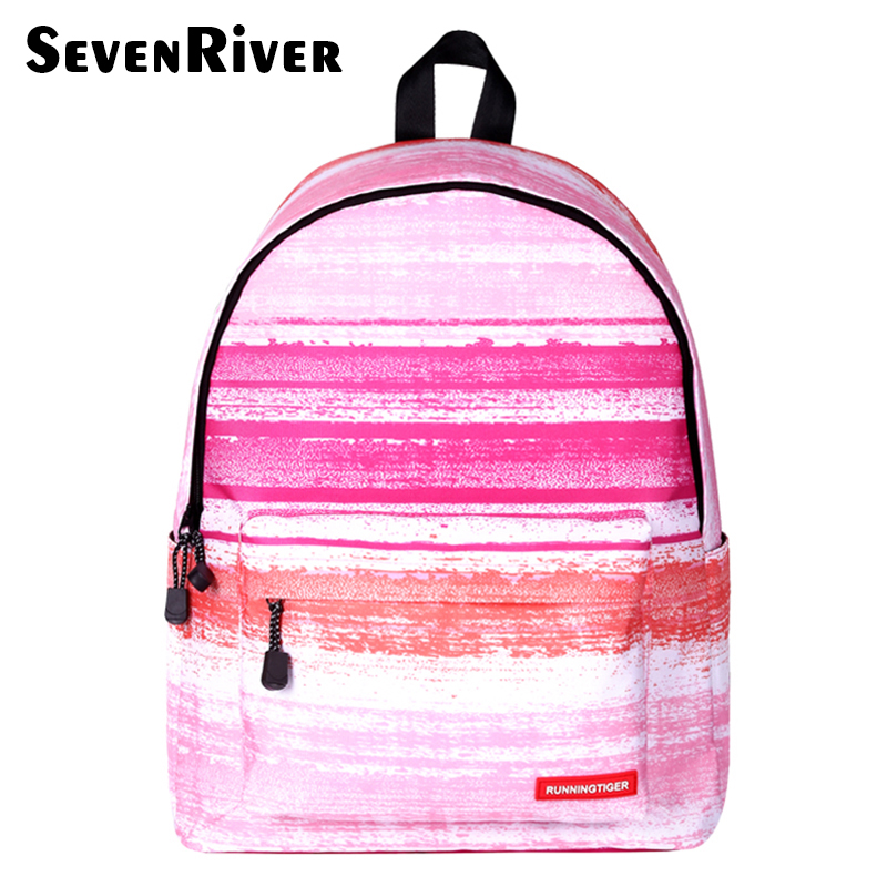 Pink Striped Women Men Backpack Female Teenage Girl School Bag Casual Laptop Male Bagpack Mochila