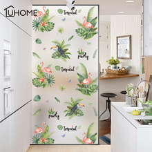Wide 60cm*Long 100cm Green Leaf Flamingo Frosted Opaque Glass Window Film for Glue Free Sticker Bedroom Home Decor