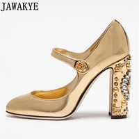 Sexy Mary Janes Patent Leather Women Pumps Chunky High Heels Crystal metal Clock Embellished gold black Wedding Shoes Stilettos