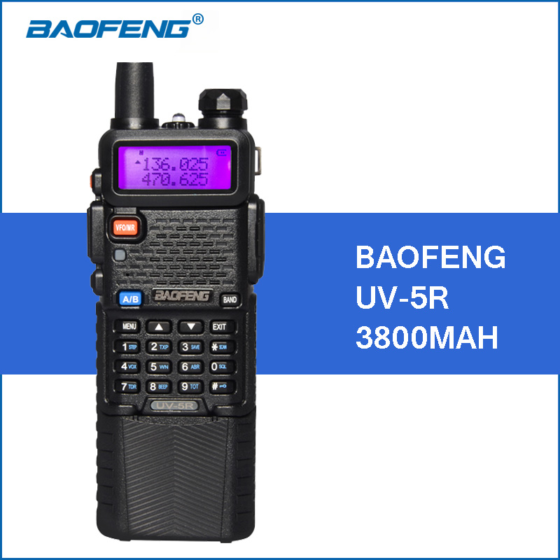Baofeng UV-5R Walkie Talkie 3800 mAh 5 Watt VHF UHF Dual Band handliche UV5R Tragbare Funksprechgerät Zweiweg Schinken CB Radio Communicator