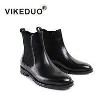Vikeduo Ladies Black Chelsea Boots Patchwork Wedding Party Shoes Women Genuine Leather Botines Mujer 2019 Handmade Bota Feminina