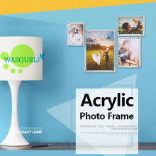 Square photo frame Acrylic material wall mounted transparent lucency for house decorate gift(China)