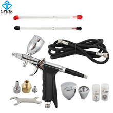 OPHIR Dual Action Spray Gun 0.3mm 0.5mm 0.8mm Nozzle Touch-Up Auto Paint Sprayer Airbrush Kit for Art Craft Hobby Painting_AC069