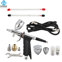OPHIR Dual Action Spray Gun 0.3mm 0.5mm 0.8mm Nozzle Touch Up Auto Paint Sprayer Airbrush Kit for Art Craft Hobby Painting_AC069
