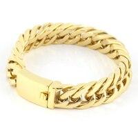 Men S Bracelets 2016 NEW 22mm Mens Chain Boys Bracelet Gold Mens Bracelets Stainless Steel And