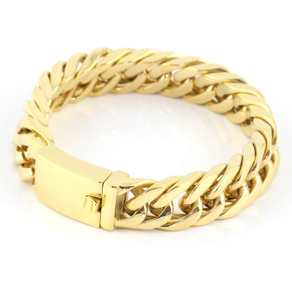 22mm Mens Chain Boys Bracelet Gold