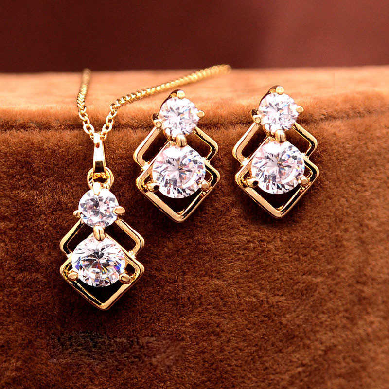 Elegant Wedding Crystal African Jewelry Sets for Women Gold Color Double Layer Square Pendant Necklace Earrings Party Jewellery