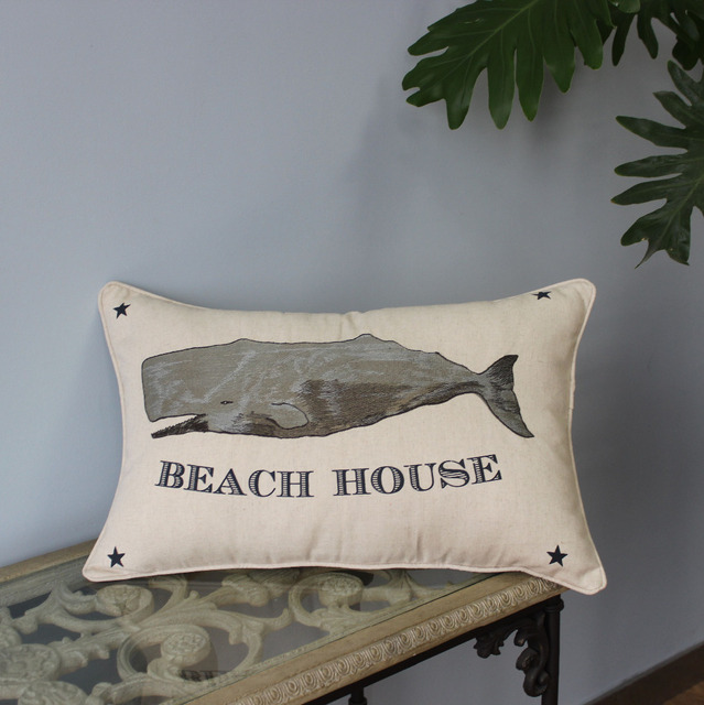 VEZO HOME Embroidered Grey Shark Linen Sofa Cushions Cover Home Mesmerizing Shark Decorative Pillow
