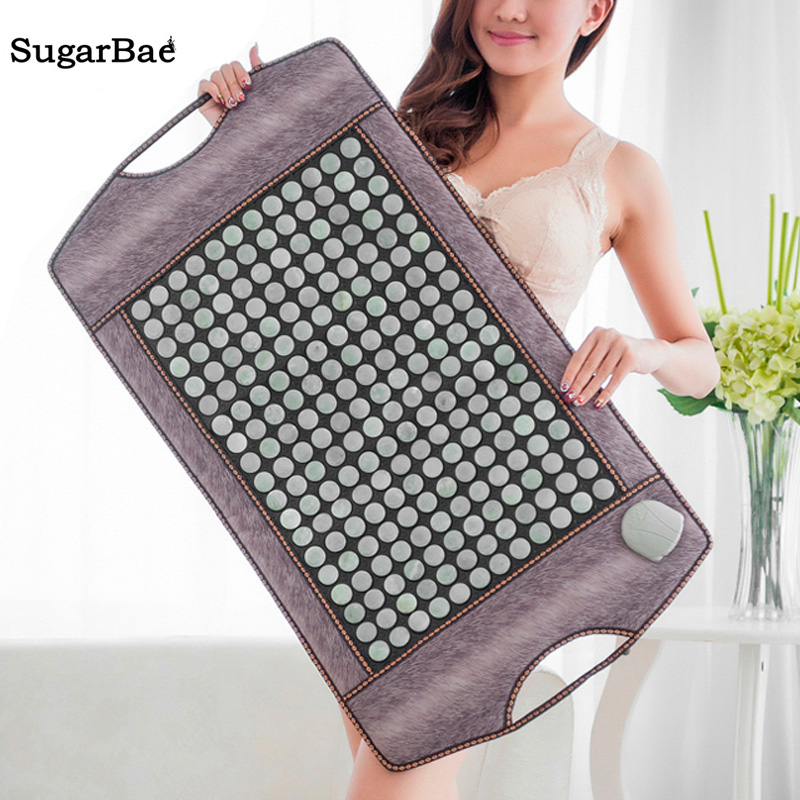 Electric Natural Jade Mat Heating Massage Mattress Back Therapy Thermal Cervical Relax Pain Relief Mat For Sale pop relax health products electric prostate massage for men handhend infrared heating therapy device 3 balls jade stone massager