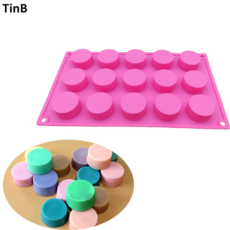 15 Hole Handmade Silicone Soap Mold 3d Round Resin Clay Candle Pudding Molds Chocolate Fondant Cake Mould Kitchen Baking Tool