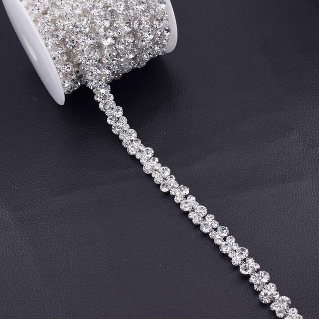 Wholesale 5Yards Glass Crystal Strass Rhinestone Trim Bridal Decorate Silver  Rhinestones Chain Bridal Belt DIY Appliques 8c5e3e814f8c