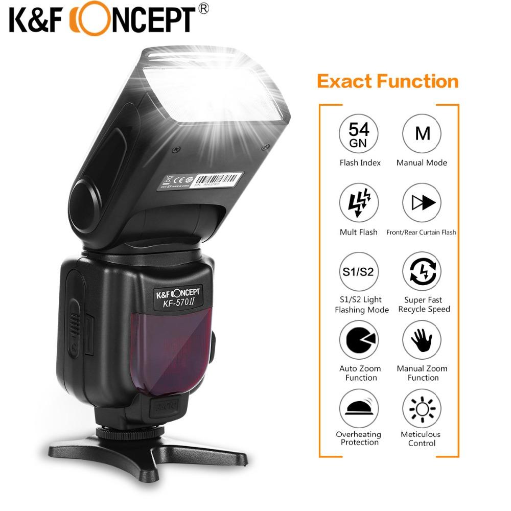 Prix pour K & f concept kf-570 ii sur-appareil photo flash speedlite sans fil flash lumière universel pour canon nikon pentax olympus fujifilm caméra