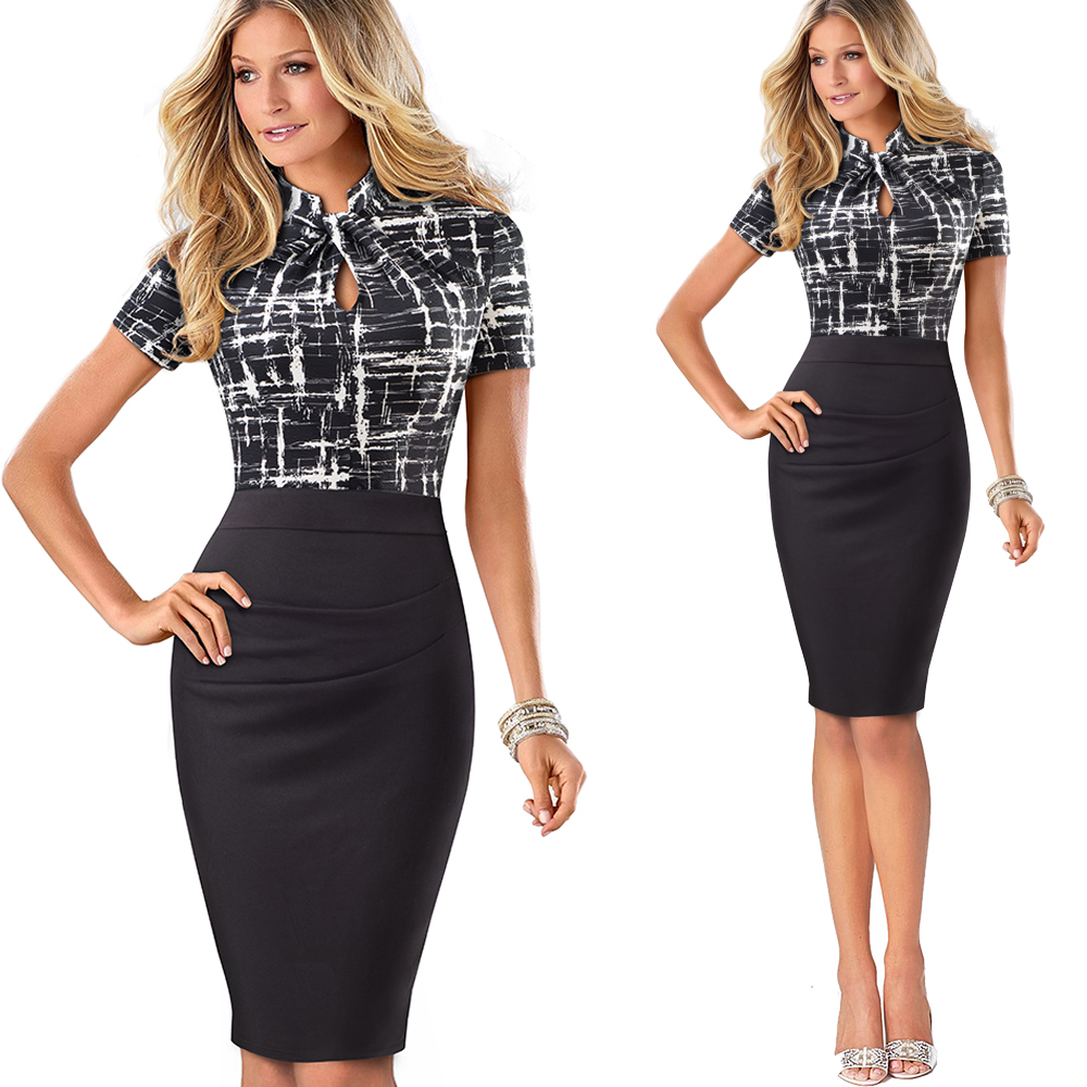 Nice-forever Vintage Contrast Color Patchwork Wear to Work Knot vestidos Bodycon Office Business Sheath Women Dress B430 12