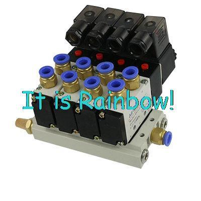 11.11 Free Shipping 4V210-08 AC 220V Quadruple Solenoid Valve Mufflers 8mm Quick Fittings Base Set free shipping 2l series solenoid valve 110v ac