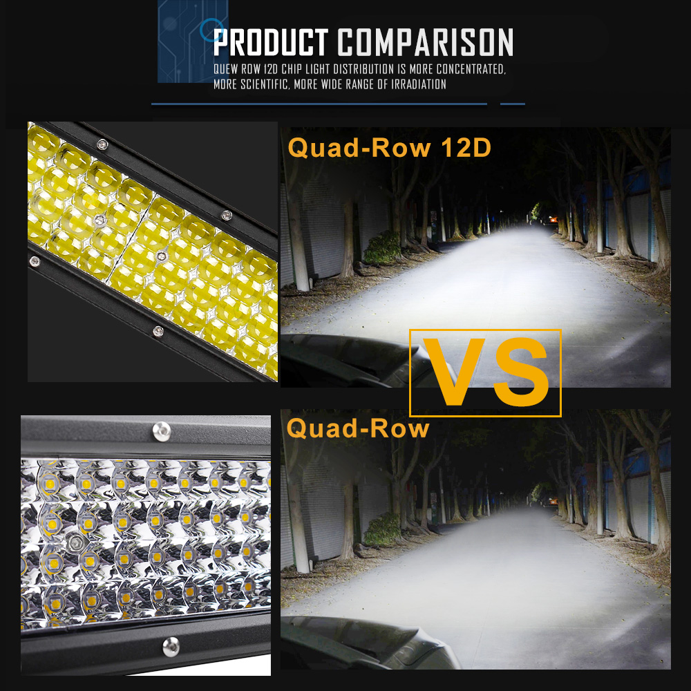 """Image 5 - CO LIGHT 42"""" Curved LED Light Bar 12D 744W Combo Beam Quad Rows Led Work Light for Jeep SUV ATV PickUp Truck Led Bar Offroad 12V-in Light Bar/Work Light from Automobiles & Motorcycles"""
