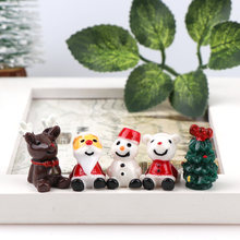 10Pcs 3D Mixed Christmas Resin Winter Snowman mini garden decorative Miniature Figurine Crafts decorations for home(China)