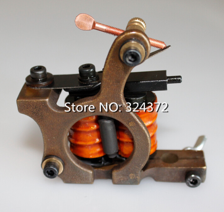 Free shipping professional brass wire 10 wraps shader manual handmade Cast brass frame Tattoo Machine Gun 170-S hot professional handmade tattoo gun for shader