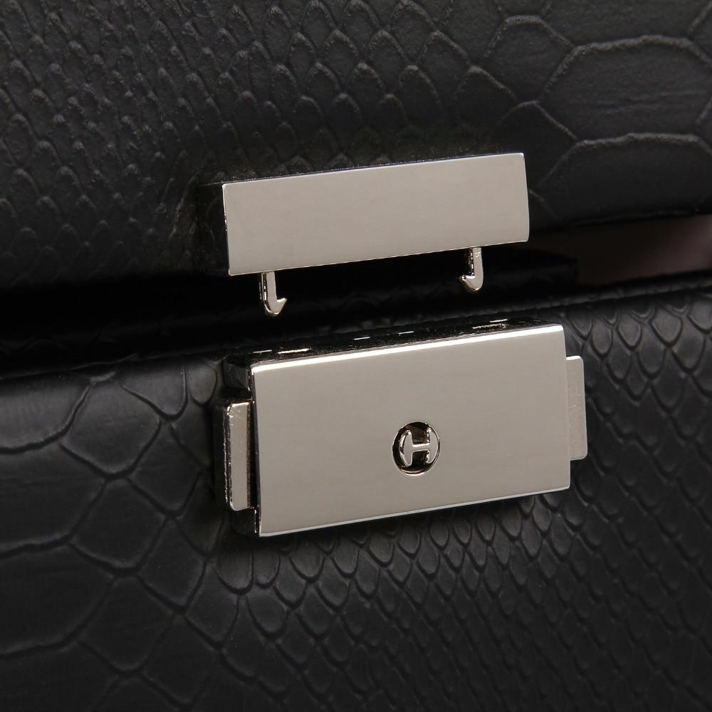 ROWLING Black Large Jewelry Box Snake Pattern Storage Leather Case Display Ring Earrings Velvet Holder