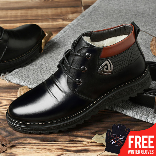 OSCO Marke Winter Männer Stiefel Leder Schuhe Mode Warme Arbeits Plüsch  Stiefeletten Casual Lace Up Wohnungen 57b0d6aa17
