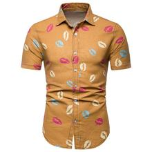 Social Shirt for Men Lip print Hip hop Hawaiian Mens clothing Ethnic style Casual Blouse Plus size Short sleeve