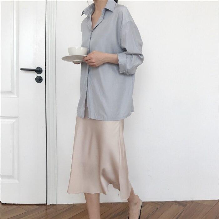 summer elegant high waist women long skirt solid A-line faldas mujer female solid slim jupe femme saia longa 3