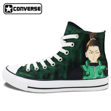 Original Converse All Star Men Women Shoes Anime Shikamaru Naruto Hand Painted Shoes Boys Girls Sneakers Cosplay Christmas Gifts