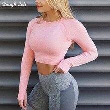 Грубый Loli женский розовый бесшовный короткий топ с длинным рукавом, рубашки для йоги с отверстием для большого пальца, для бега, фитнеса, бесшовное для тренировки, топы, рубашки
