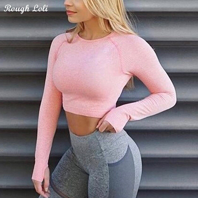 Rough Loli Women's Pink Seamless Long Sleeve Crop Top Yoga Shirts With Thumb Hole Running Fitness Workout Seamless Top Shirts