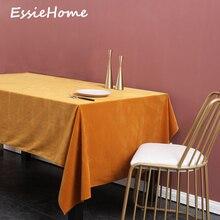 ESSIE HOME Dark Yellow Mustard Single Side Matte Velvet High End Table Cloth Linen Wedding Decoration Placemat