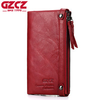 GZCZ Genuine Leather Women Wallet Female Zipper Design Long Walet Clutch Card Holder Large Capacity Woman