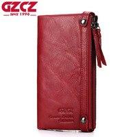 GZCZ Genuine Leather Women Wallet Female Zipper Design Long Walet Clutch Card Holder Large Capacity Woman