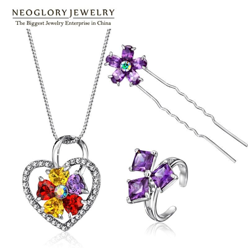 Neoglory Jewelry-Sets Rhinestone Imitation-Austrian Fashion Women for Zinc-Alloy Colf-S