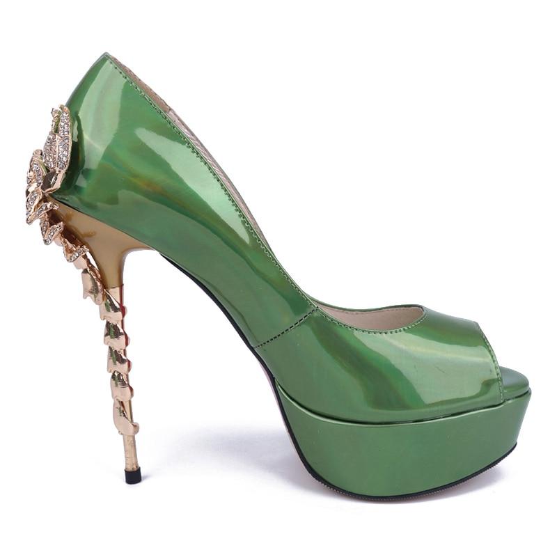 newest metal color scorpion stiletto heel 14 cm patent
