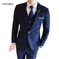 Jacket Vest Pants Men Suit Latest Designs Flower Printed Navy Jacquard Suits 3 Pieces Wedding