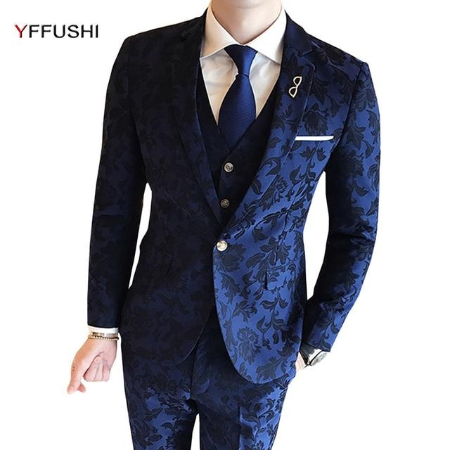 Aliexpress.com : Buy YFFUSHI Men Suit Latest Design Flower Printed ...