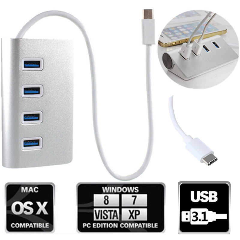 High Speed 4 Ports USB Hub Adapter Portable Aluminum USB-C 3.1 Hub Cable USB Splitter For Macbook Air PC for Laptop