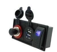 DC12V 24V 3 1A Dual USB Cigarette Socket With Rocker Switch Holder Housing Kit For Car